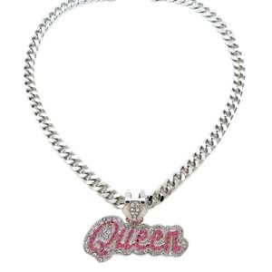 ICED OUT CELEBRITY QUEEN PENDANT NECKLACE SILVER